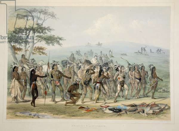 Archery of the Mandans , from Catlin's North American Indian Portfolio. Hunting Scenes and Amusements of the Rocky Mountains and Prairies of America, pub. 1845 (colour litho)
