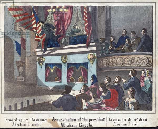 Assassination of the President Abraham Lincoln, pub. 1865 (hand-coloured engraving)