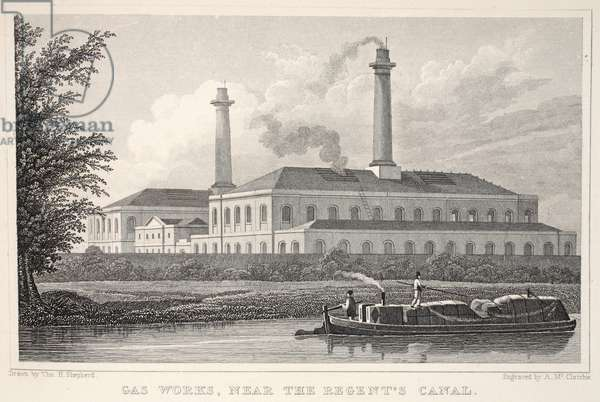 Gas Works, near the Regents Canal, from 'London and it's Environs in the Nineteenth Century' pub. Jones & Co., 1827-1829 (engraving)