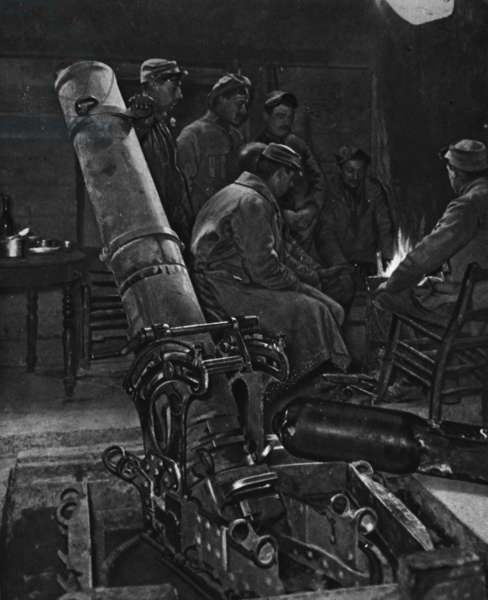 A French trench-mortar in its winter den, illustration from 'The Illustrated War News', 7th March 1917 (b/w photo)