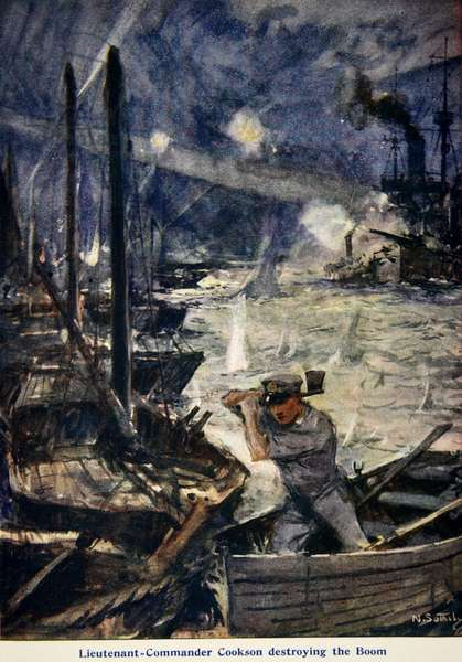 'Lieutenant-Commander Cookson destroying the Boom', illustration from 'Told in the Huts: The YMCA Gift Book', published 1916 (colour litho)
