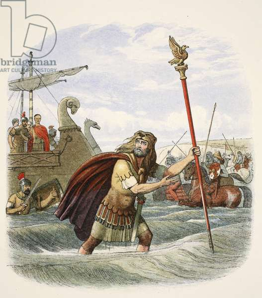 The Roman standard bearer of the tenth legion landing in Britain, 55 BC, from A Chronicle of England BC 55 to AD 1485, pub. London, 1863 (colour litho)