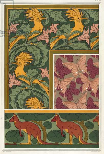 """Designs for wallpaper borders and silk fabric: """"Hoopoe and Devil's Trumpet"""", """"Kangaroo and Trees""""and """"Butterflies"""",  from 'L'Animal dans la Decoration' by Maurice Pillard Verneuil, pub. 1897 (colour lithograph)"""
