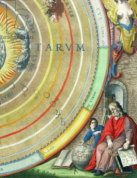 An Astronomer, detail from a map of the planets, from 'A Celestial Atlas, or The Harmony of the Universe' (Atlas coelestis seu harmonia macrocosmica) pub. by Joannes Janssonius, Amsterdam, 1660-61 (hand coloured engraving)