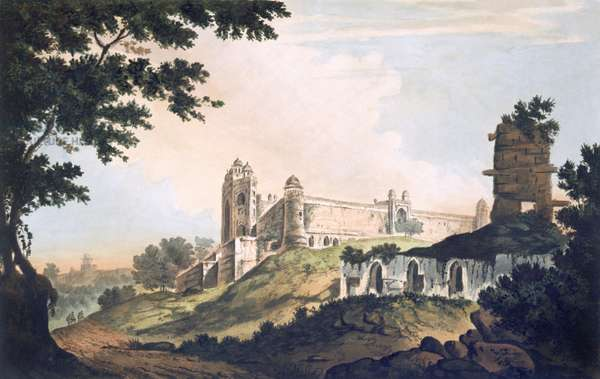 Pl. 12 A View of the Mosque at Futtipoor Sicri, from 'Select Views in India', pub. 1785-88 (coloured etching with aquatint)