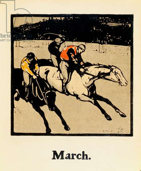 The Month of March, from 'An Almanac of Twelve Sports', with words by Rudyard Kipling, first published by William Heinemann, 1898 (colour litho)