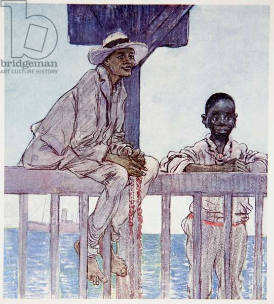 Diving Boys, Kingston, from a portfolio of privately printed watercolours of 'The West Indies' (colour litho)