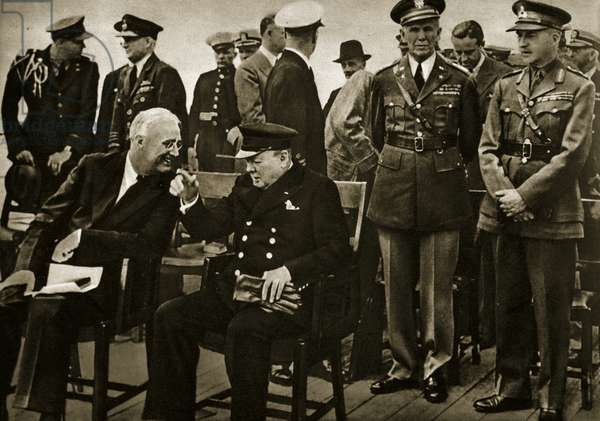 Roosevelt and Churchill after the service on board HMS Prince of Wales. Behind them are American chief of staff George C. Marshall and chief of the Imperial General Staff, General Sir John Dillon (far right) 11th August 1941 (b/w photo)