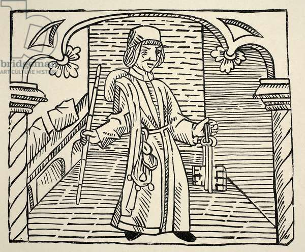 Smith, from 'Game of Chess' by William Caxton, pub. 1480 (woodcut) (sepia photo)