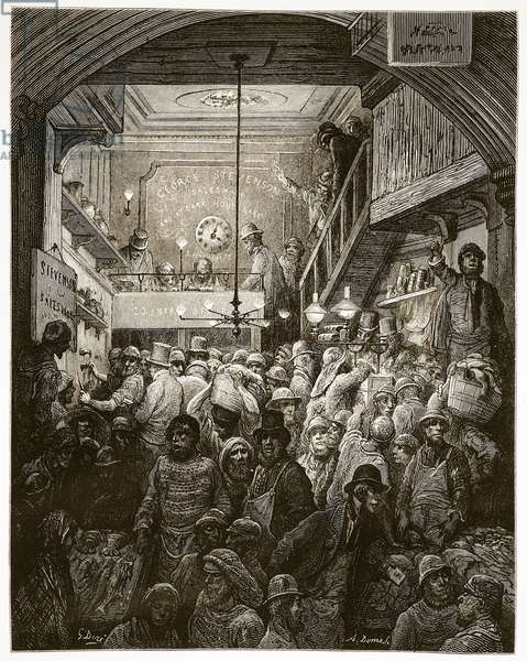 Billingsgate - Early Morning, from 'London, a Pilgrimage', written by William Blanchard Jerrold (1826-84) & engraved by A. Doms, 1872 (engraving)