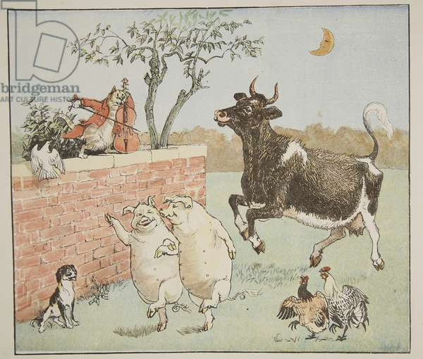 The Cat and the Fiddle, illustration from 'Hey Diddle Diddle and Bye, Baby Bunting', 1882 (coloured engraving)