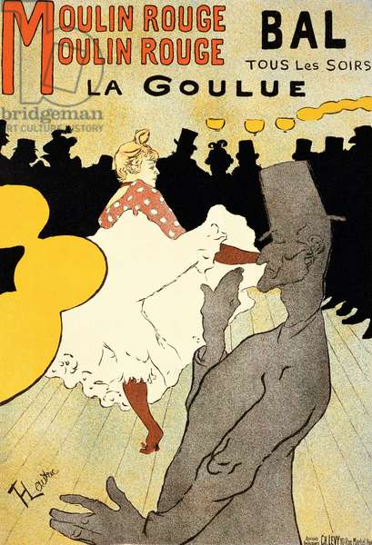 Reproduction of a poster advertising 'La Goulue' at the Moulin Rouge, Paris (colour litho) (see 454, 7015 and 84446)