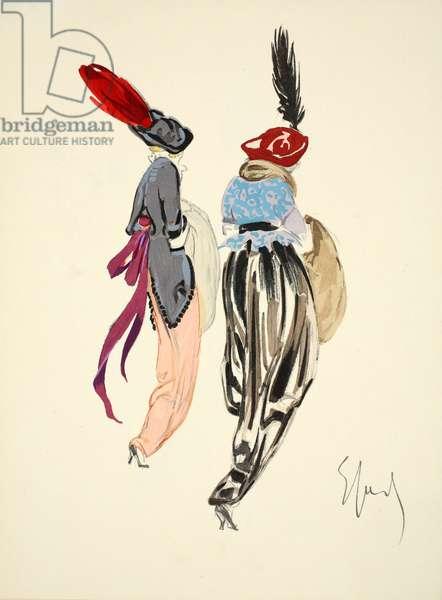 Design for day dress, 1912, plate 10, illustration from 'Robes et Femmes', pub. Dorbon-Ainé, Paris, 1913 (pochoir print)