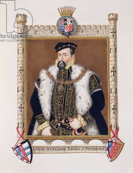 Portrait of William Herbert (c.1506-70) 1st Earl of Pembroke from 'Memoirs of the Court of Queen Elizabeth', published in 1825 (w/c and gouache on paper)