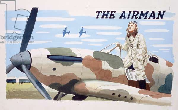 Pilot and his plane, front cover of a children's book 'The Airman', c.1940 (w/c)