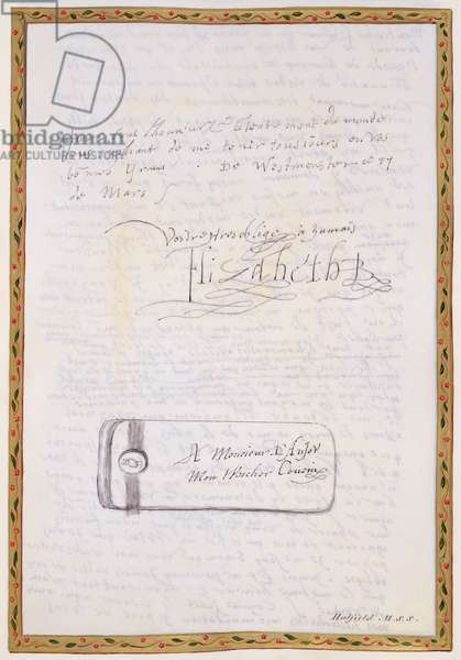 Facsimile of a letter written by Elizabeth I to Francois de Valois, Duc d'Anjou and Alencon from 'Memoirs of the Court of Queen Elizabeth', published in 1825 (pen and ink on paper) (see 146741)