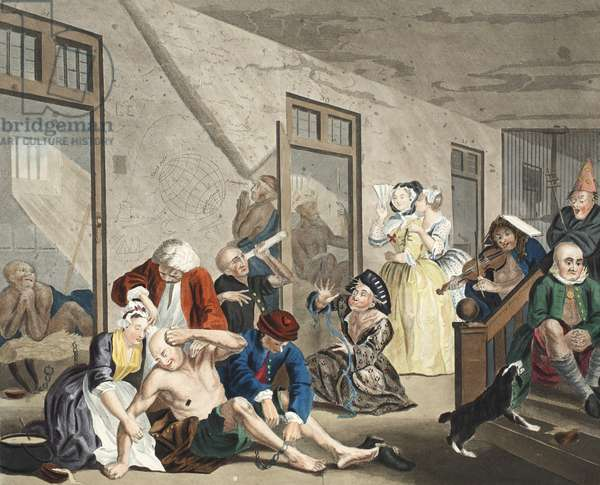 Scene in Bedlam, plate VIII, from A Rake's Progress, illustration from 'Hogarth Restored: The Whole Works of the celebrated William Hogarth, re-engraved by Thomas Cook', pub. 1812 (hand-coloured engraving)