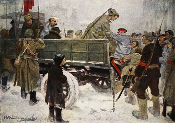 Arresting Generals during the Revolution in February 1917 (colour litho)