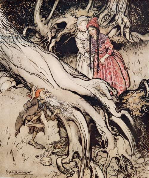 Snow-White and Rose-Red, from Little Brother & Little Sister and Other Tales by the Brothers Grimm, pub.1917 (colour litho)