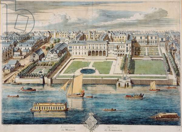 Old Somerset House on the Strand, engraved by Jean Benoit Winckler (engraving)