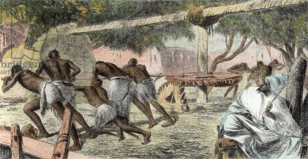 Slaves Irrigating by Water-Wheel on the Banks of the Nile (engraving) (later colouration)