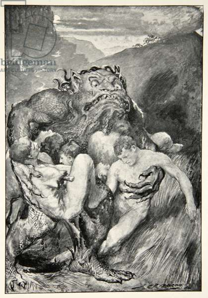 The Daemon of evil, with his fierce ravening, greedily grasped them, from 'Hero Myths and Legends of the British Race' by M.I. Ebbutt, 1910 (litho)