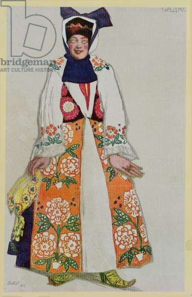 Costume design for a peasant woman, from Sadko, 1917 (colour litho)