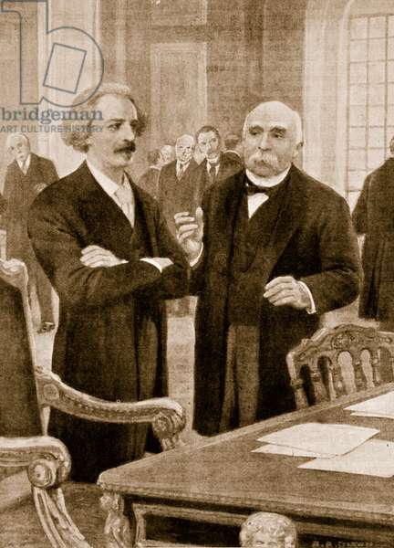 Paderewski's meeting with Clemenceau at the Paris Peace Conference in 1919 (litho)