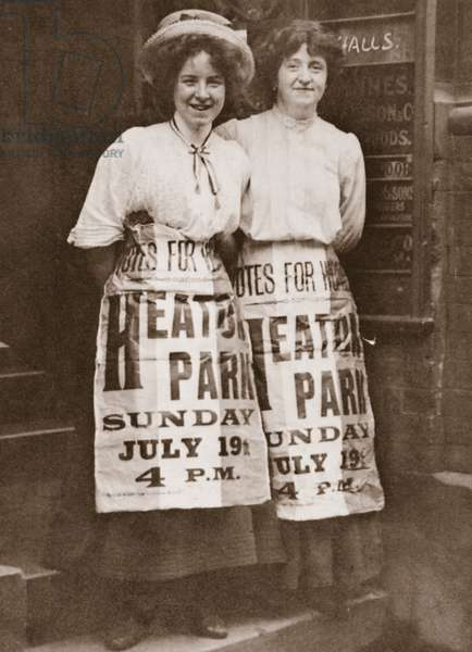Mabel Capper and Patricia Woodlock advertising a 'monster' meeting to be held in Heaton Park, Manchester, 19th July 1908 (sepia photo)