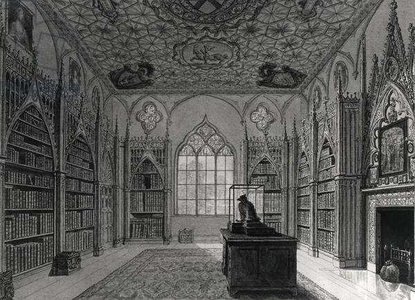 Interior of Strawberry Hill (litho) b/w photo)
