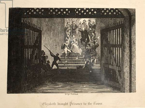 Elizabeth Brought Prisoner to the Tower, from The Tower of London, pub. 1840 (engraving)