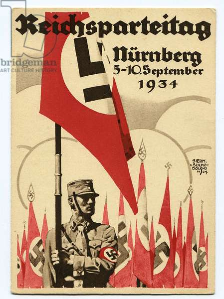 Postcard from the Nuremberg Rally, 1934 (colour litho)