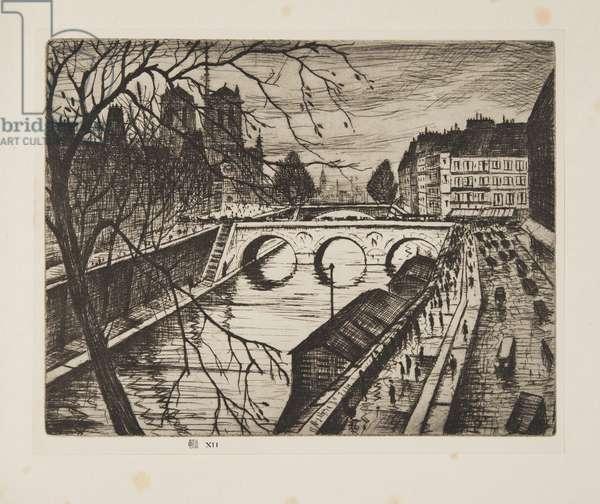 Notre Dame, Les Quais de Paris, pub.1931 (etching)