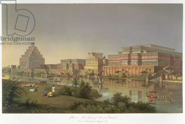 The Palaces of Nimrud Restored, a reconstruction of the palaces built by Ashurbanipal on the banks of the Tigris, from 'Discoveries in the Ruins of Nineveh and Babylon' by Austen Henry Layard (1817-94) 1853 (colour litho)