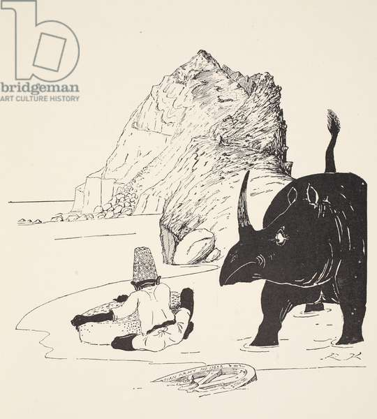 The Parsee beginning to eat his cake on the Uninhabited Island, illustration from 'Just So Stories for Little Children' by Rudyard Kipling, pub. London, 1951 (litho)
