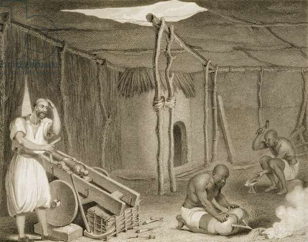 Hut and carpenters workshop, Bournu, from 'Narrative of Travels and Discoveries in Northern & Central Africa, in the years 1822, 1823 and 1824', by Major Dixon Denham and Captain Hugh Clapperton, engraved by Edward Francis Finden (1791-1857), published 1826 (engraving)