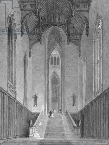 The Great Western Hall leading to the Grand Saloon or Octagon, Fonthill Abbey, engraved by C.J. Varrall, 1823 (engraving)