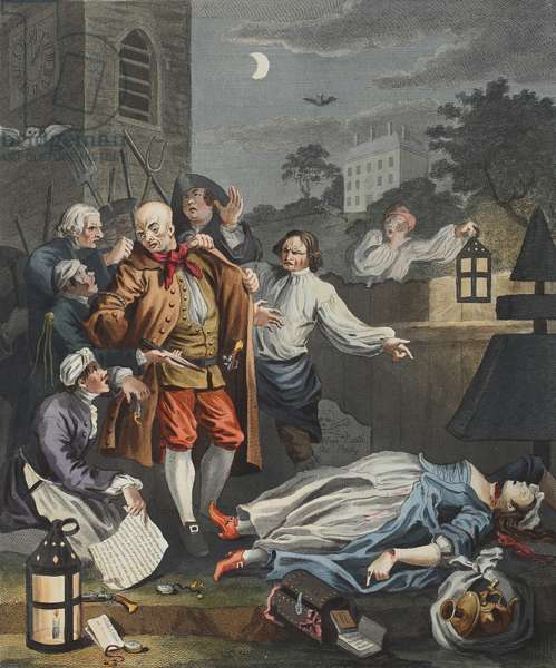 """Cruelty in Perfection, from """"The Four Stages of Cruelty"""", illustration from 'Hogarth Restored: The Whole Works of the celebrated William Hogarth, re-engraved by Thomas Cook', pub. 1812 (hand-coloured engraving)"""