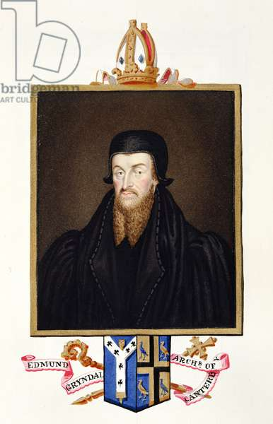 Portrait of Edmund Grindal (c.1519-83) Archbishop of Canterbury from 'Memoirs of the Court of Queen Elizabeth ', published in 1825 (w/c and gouache on paper)
