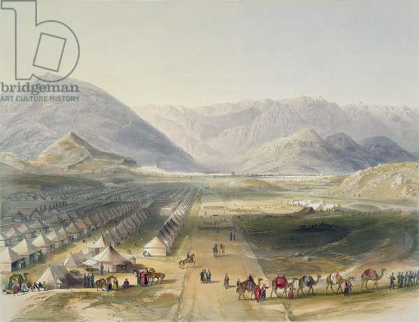 Encampment of the Kandahar Army under General Nott, outside the walls of Caubul, on the evacuation of Afghanistan by the British, plate 5 from 'Scenery, Inhabitants and Costumes of Afghanistan', engraved by R. Carrick (c.1829-1904), 1848 (litho)