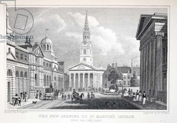 The New Opening of St Martin's Church, from Pall Mall East, from 'London and it's Environs in the Nineteenth Century' pub. Jones & Co., 1827-1829 (engraving)