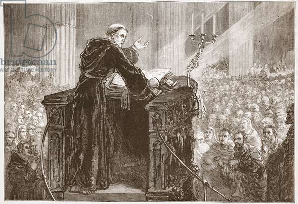 Zwingle preaching in Zurich Cathedral, illustration from 'The History of Protestantism' by James Aitken Wylie (1808-1890), pub. 1878 (engraving)