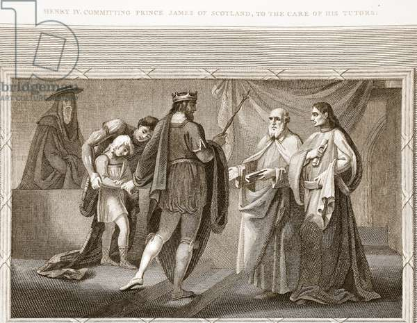 Henry IV committing Prince James of Scotland, to the care of his tutors, illustration from David Hume's 'The History of England', pub. by R. Bowyer, London, 1812 (engraving)