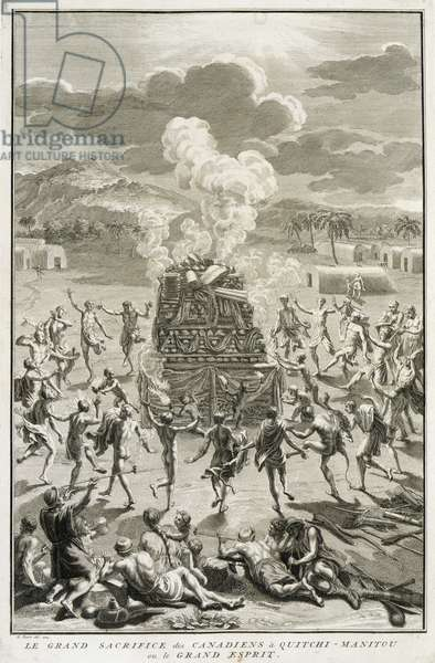 The Sacrifice to Quitchi-Manitou, or The Great Spirit, by the Canadians, illustration from 'Religious Ceremonies and Customs', engraved by Bernard Picart (1673-1733) 1723 (engraving)