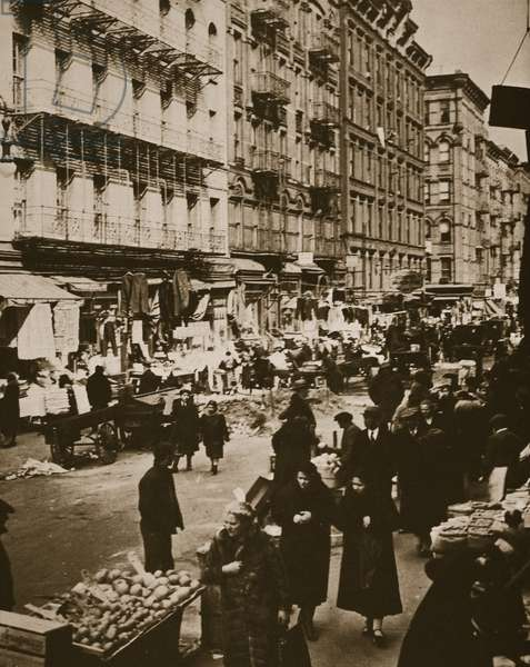 Orchard Street, Lower East Side, New York, early 1930s (sepia photo)