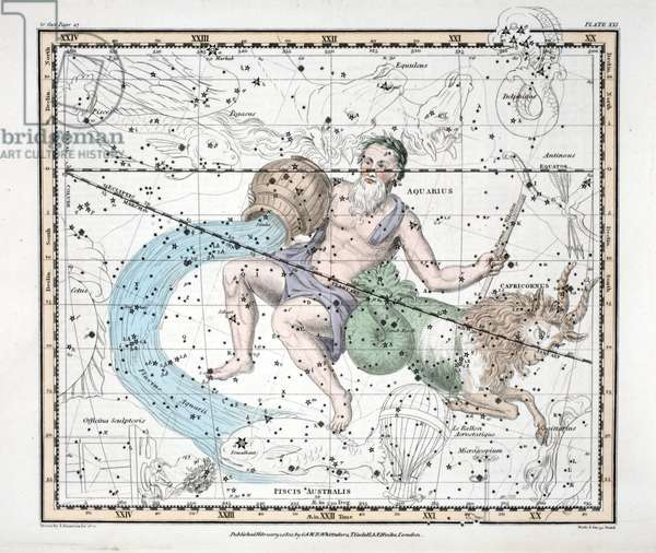 The Constellations (Plate XXI) Capricorn and Aquarius, from 'A Celestial Atlas' by Alexander Jamieson, pub. London 1822 (hand coloured engraving)