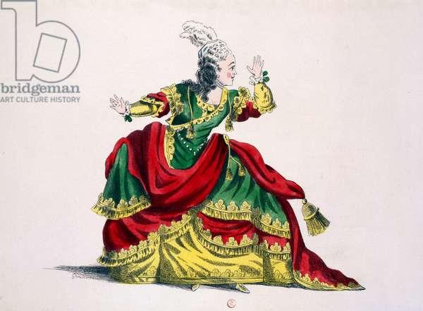Miss Sainval as Zenobie in 'Zenobie and Rhadamisthe', facsimile by Guillaumot fils (hand-coloured engraving)