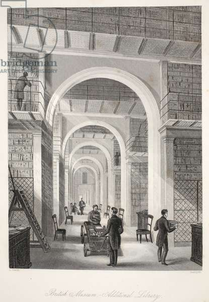 British Museum, the Additional Library, from 'London Interiors with their Costumes and Ceremonies' pub. Joseph Mead, London, c.1843 (steel engraving)