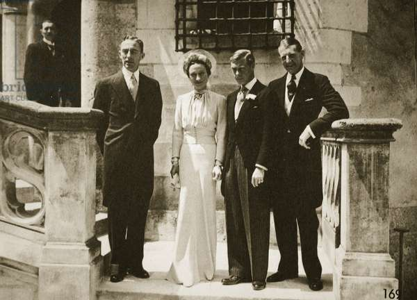 The wedding party at the marriage of the Duchess and Duke of Windsor, France, 3rd June 1937 (b/w photo)