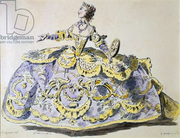 Miss Laguerre as Fortune, facsimile by A. Guillaumot fils (hand-coloured engraving)